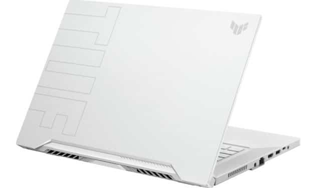 Asus Dash TUF516PE-HN044T, ultrabook gamer blanc 15 pouces sobre et puissant avec RTX 3050 Ti (1109€)