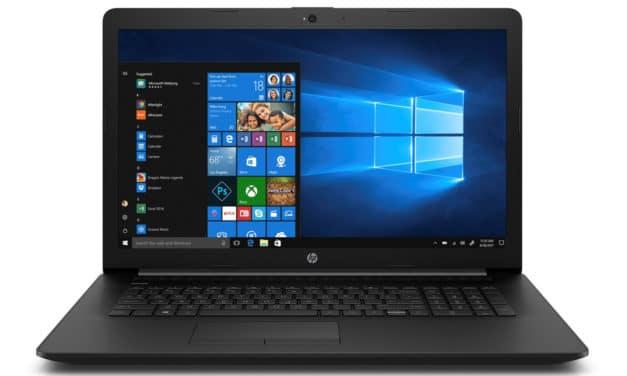"""<span class=""""nouveau"""">Nouveau 399€</span> HP 17-by2022nf, PC portable 17"""" noir bureautique pas cher discret avec gros stockage"""
