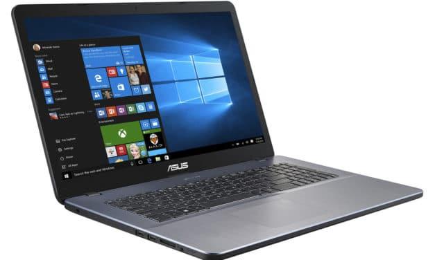 """Asus R702UA-BX1078T, PC portable 17"""" pas cher argent élégant et rapide avec SSD 512 Go et USB-C (449€)"""