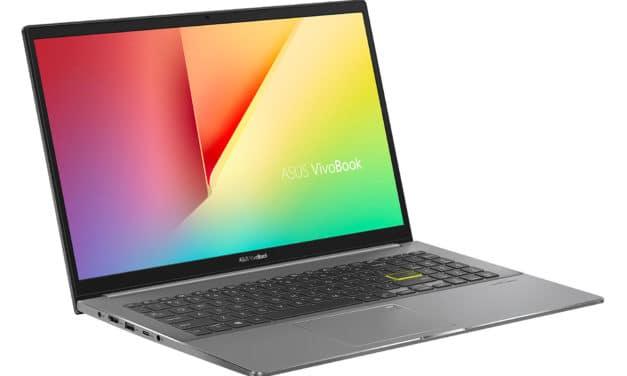 """Asus VivoBook S15 S533EA-BQ2649T, Ultrabook 15"""" discret polyvalent pas cher léger rapide et fin Tiger Lake (584€)"""