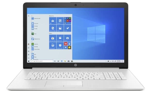 """HP 17-ca2033nf, PC portable 17"""" argent sobre élégant pas cher  rapide avec SSD 512 Go et graveur CD/DVD (509€)"""