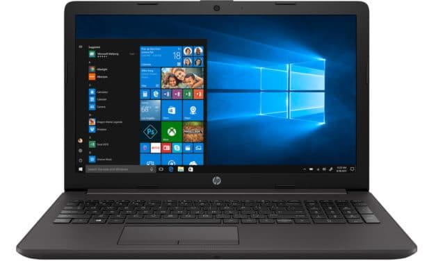 """HP 255 G7 (2D318EA), PC portable 15"""" noir discret pas cher rapide et léger avec SSD et graveur CD/DVD (529€)"""