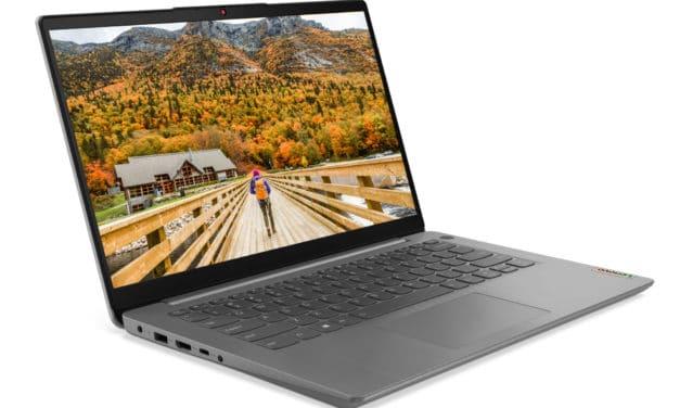"""<span class=""""promo"""">Promo 589€</span> Lenovo IdeaPad 3 14ALC6 (82KT003FFR), PC portable 14"""" polyvalent pas cher AMD nomade 8h argent léger rapide et fin"""