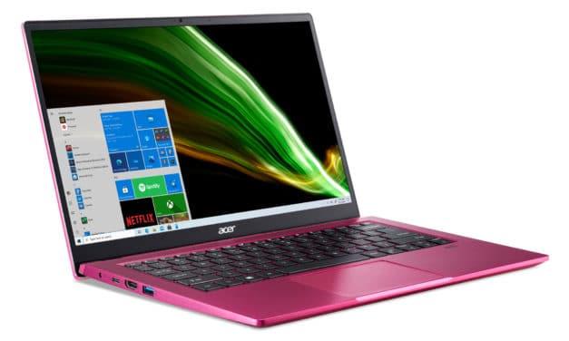 """Acer Swift 3 SF314-511-38QC, Ultrabook 14"""" rouge polyvalent original pas cher fin rapide et léger avec Intel Tiger Lake (594€)"""