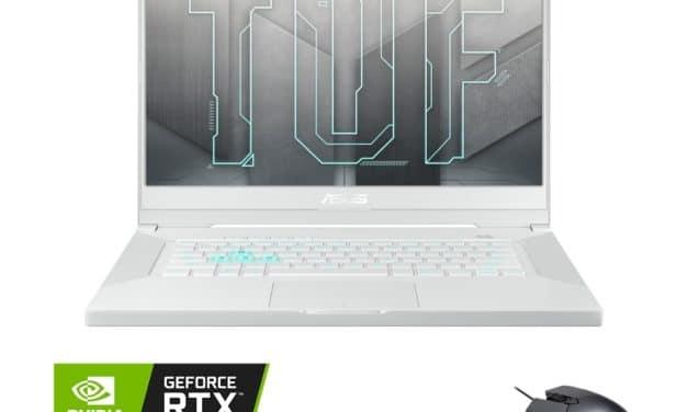 """Asus TUF Dash F15 TUF516PE-HN017T, Ultrabook 15"""" blanc + souris pour créer et jouer RTX 3050 Ti SSD 1 To TB4 (1299€)"""