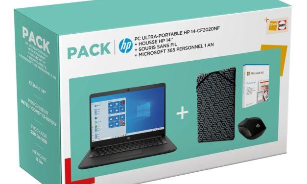 "HP 14-cf2020nf, Ultrabook 14"" noir pas cher fin léger et rapide avec SSD en pack avec housse + souris + 1 an Microsoft 365 (529€)"