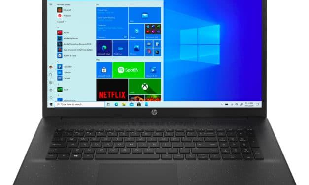 """HP 17-cp0059nf, PC portable 17"""" noir pas cher confortable léger fin et rapide avec AMD Quad Core et SSD (509€)"""