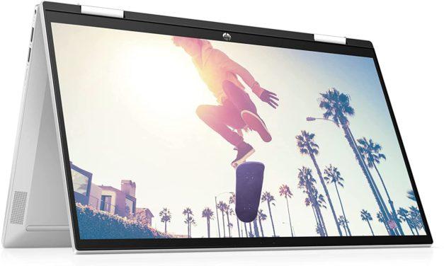 """HP Pavilion x360 15-er0000sf, PC portable 15"""" tactile Tablette argent polyvalent léger rapide et fin Tiger Lake SSD 512 Go 7h (649€)"""
