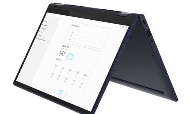 "<span class=""promo"">Promo 1039€</span> Lenovo Yoga 6 13ALC6 (82ND001JFR), ultraportable 2-en-1 tactile 13"" Tablette polyvalent AMD coque tissu bleu nomade 11h"