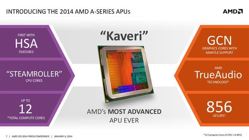 """<span class=""""tagtitre"""">CES 2014 - </span>AMD : APU Kaveri, Beema et Mullins, nouveaux GPU Radeon mobiles"""