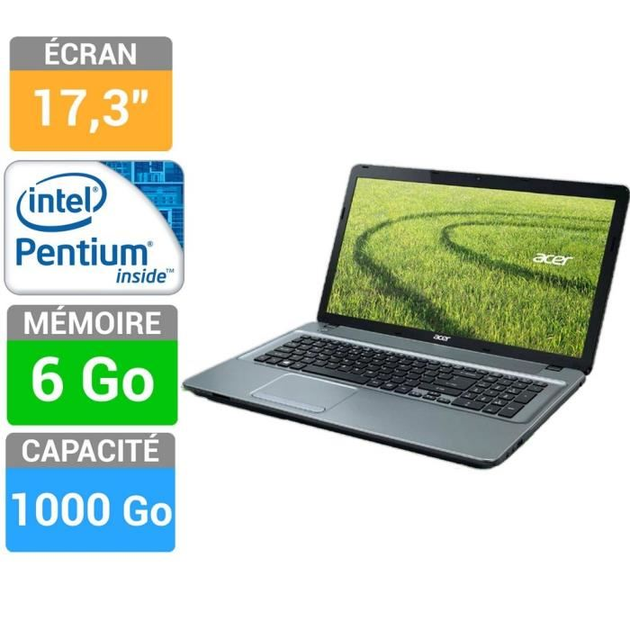 """Acer Aspire E1-731-B986G1TMnii à 419€, 17.3"""" avec Pentium Dual Core, 6 Go, 1000 Go"""