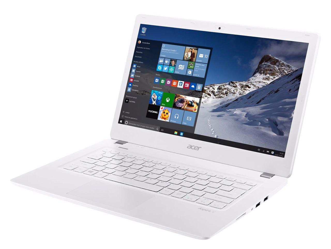 Acer Aspire V3-372-311N promo 519€, Ultrabook 13 pouces mat Core i3 blanc