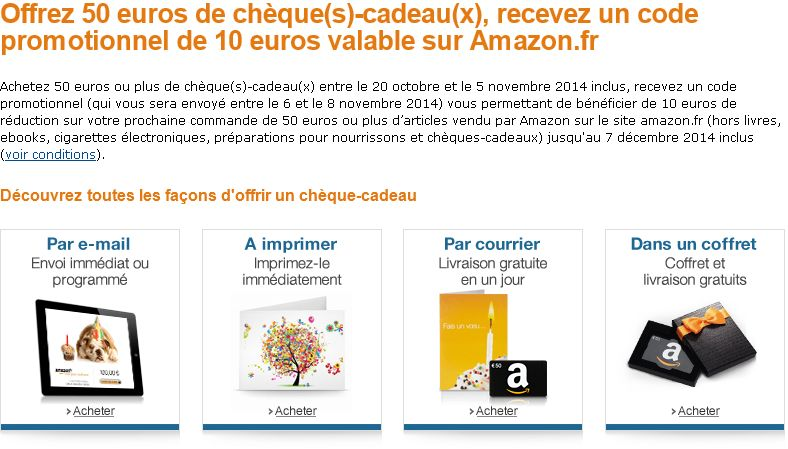 """<span class=""""tagtitre"""">Bon Plan - </span>Amazon offre 10 euros pour l'achat de chèque-cadeau de 50 euros"""