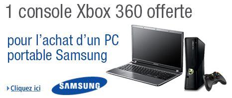 console de jeu Xbox 360 offerte pour l'achat d'un PC portable Samsung chez Amazon