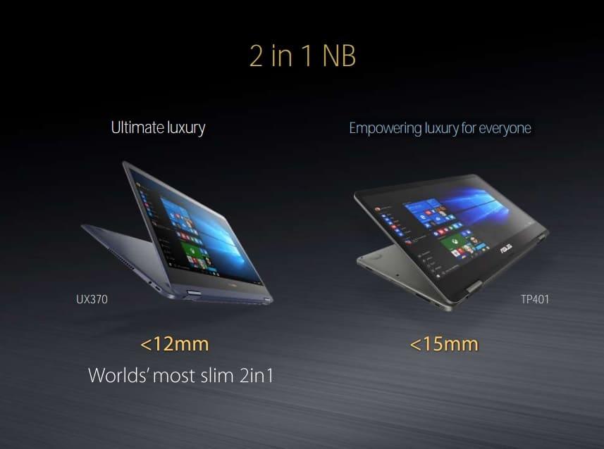 Asus Zenbook Flip UX370 et VivoBook Flip TP401, Ultrabooks tactile/Tablette