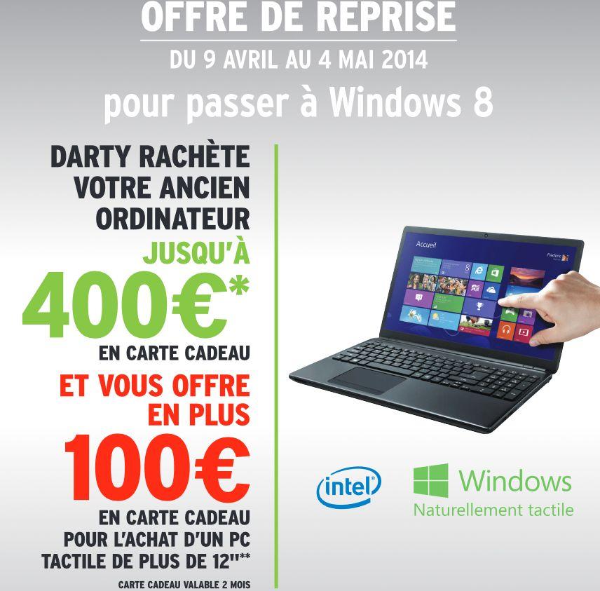 """<span class=""""tagtitre"""">Bon Plan - </span>Darty rachète votre ancien PC et offre 100 euros en carte cadeau"""