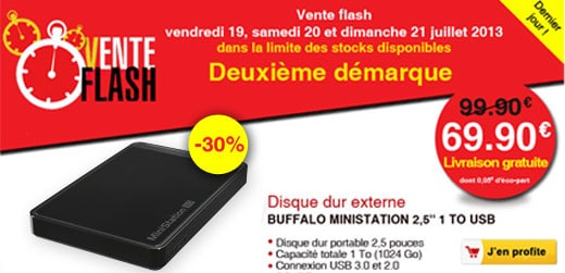 "<span class=""toptagtitre"">Soldes ! </span>disque dur externe Buffalo Ministation 2.5"" 1 To USB 3.0 à 69€ chez Darty !"