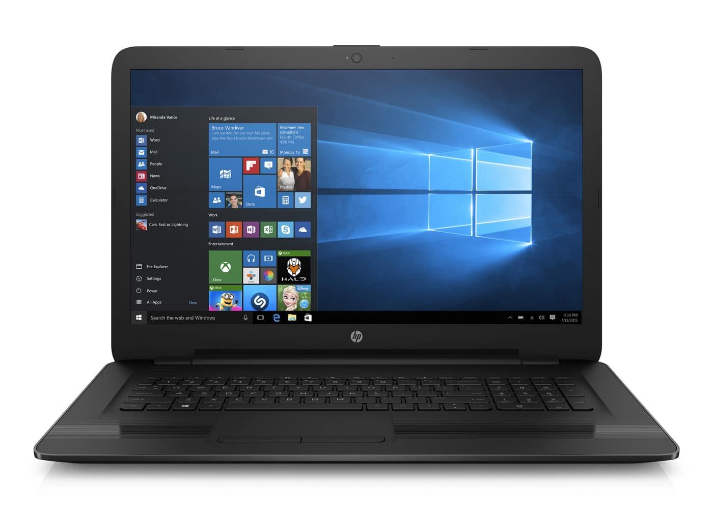 HP 17-x037nf à 329€, PC portable 17 pouces bureautique noir