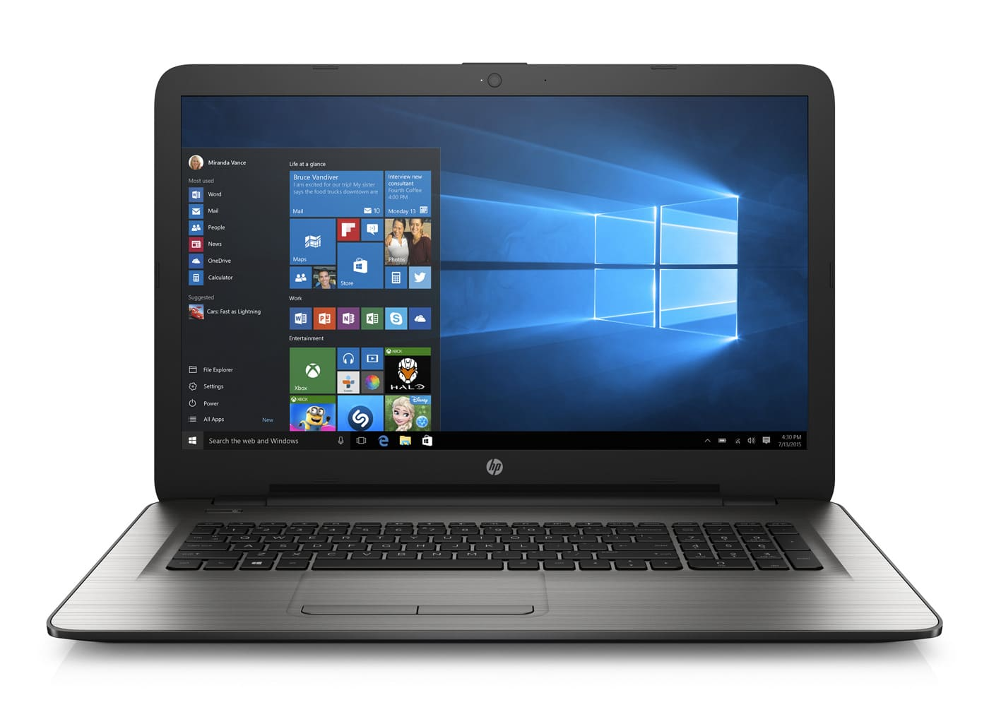 HP 17-x114nf à 519€, PC portable 17 pouces Core i5 Kaby Lake et 1 To argent