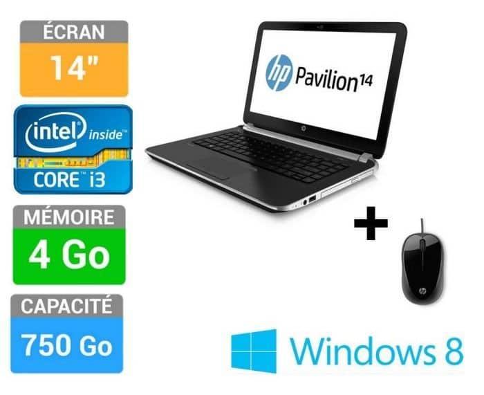 "<span class=""toptagtitre"">Bon Plan ! </span>HP Pavilion 14-n040ef + souris vente flash 399€ (-50€), 14"" : Core i3 Ivy Bridge, 750 Go"