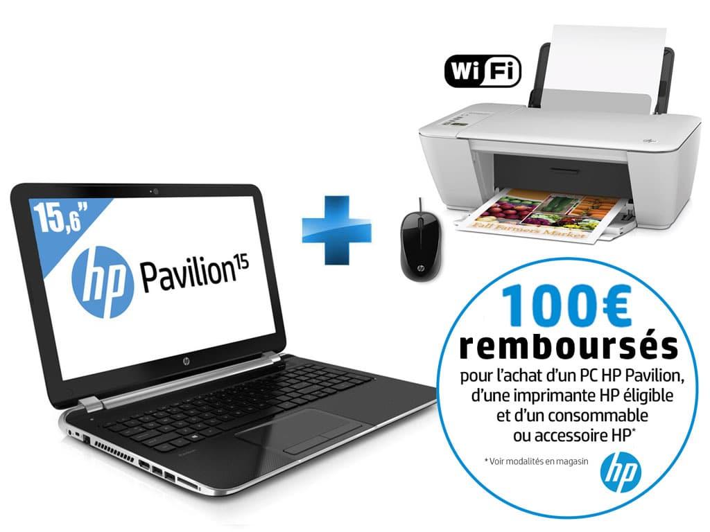 """HP Pavilion 15-n029sf, 15.6"""" + imprimante et souris à 399€ (-100€) : APU Kabini Dual Core, 500 Go"""