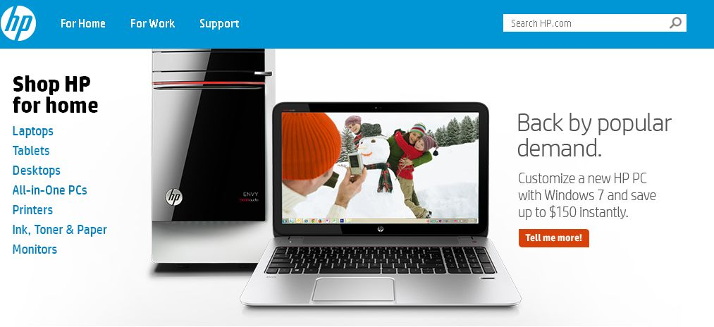 HP communique sur le retour de PC sous Windows 7