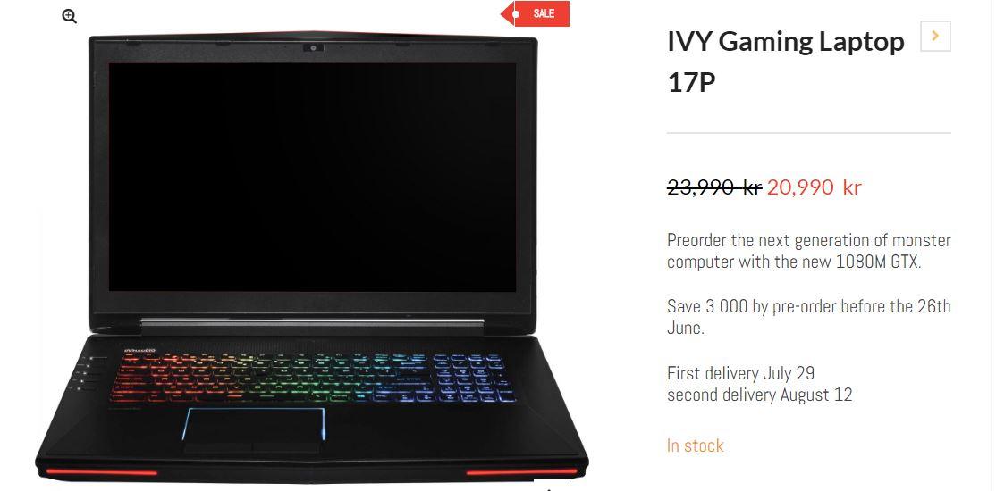 La GeForce GTX 1080M annoncée officiellement dans un PC portable