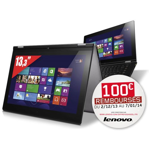 "<span class=""tagtitre""><del>Soldes 999€ - </span>Lenovo Yoga 13, 13.3"" 1600x900 IPS tactile/Tablette, 1091€ : i7 Ivy Bridge, SSD 256 Go, 8 Go</del>"