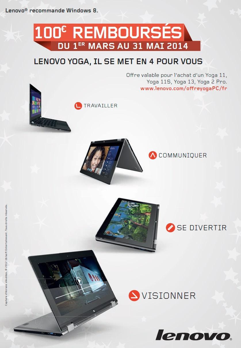 """<span class=""""tagtitre"""">Bon plan - </span>100€ remboursés sur les ultrabook convertibles Lenovo Yoga"""