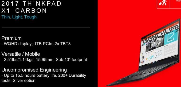 "<span class=""tagtitre"">CES 2017 - </span>Lenovo ThinkPad X1 Carbon, nouvel Ultrabook Kaby Lake, Thunderbolt"