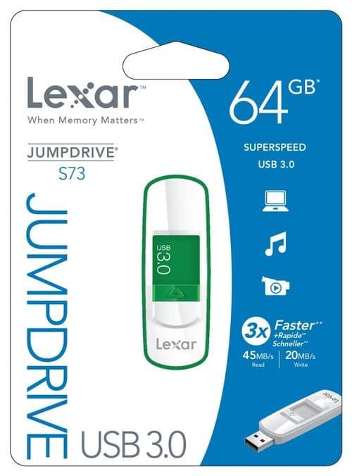 """<span class=""""toptagtitre"""">Bon Plan ! </span>Clé USB 3.0 Lexar JumpDrive S73 de 64 Go en vente flash à 29 euros"""