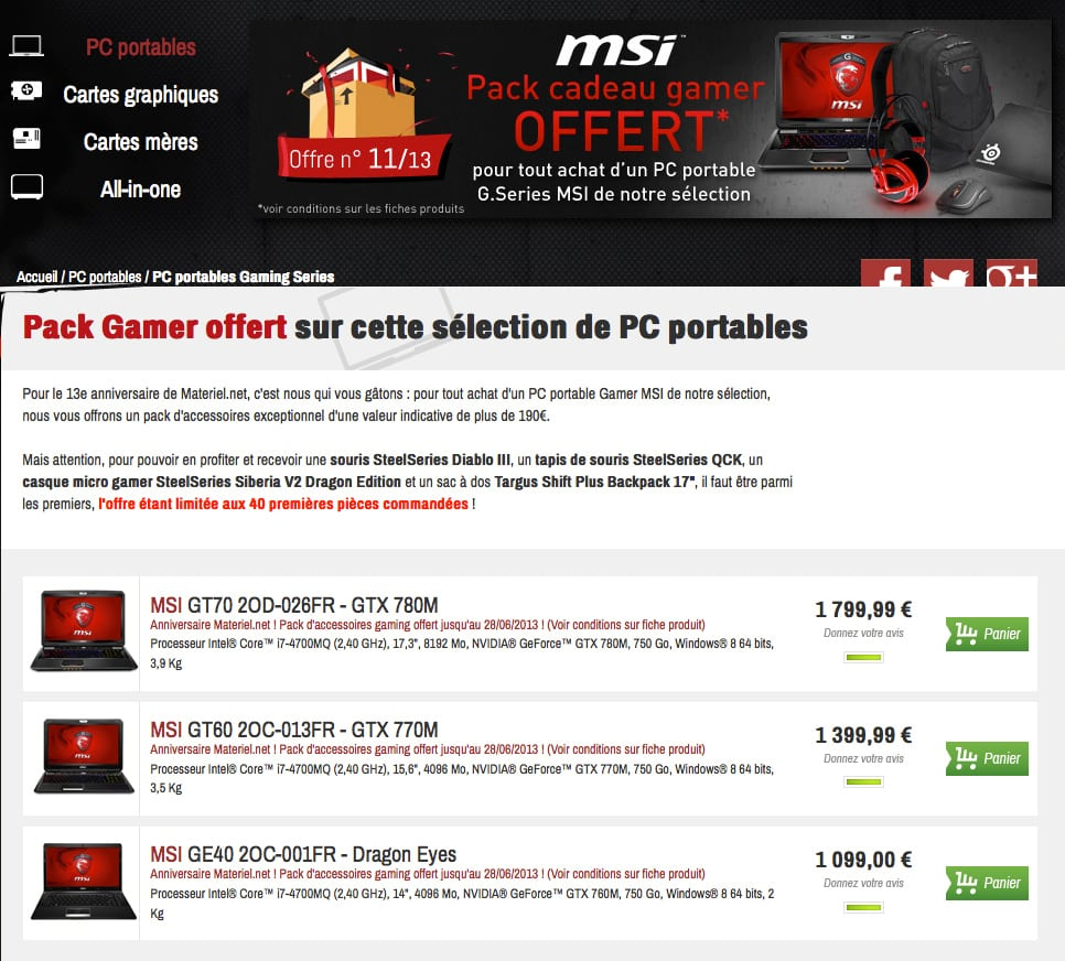 """<span class=""""tagtitre"""">Bon plan - </span>Pack gamer SteelSeries offert avec les PC portables MSI Haswell (offre limitée)"""