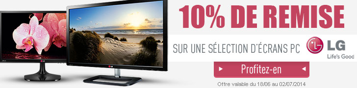 """<span class=""""tagtitre"""">Bon Plan - </span>10% de remise immédiate sur les moniteurs PC LG chez Materiel.net"""