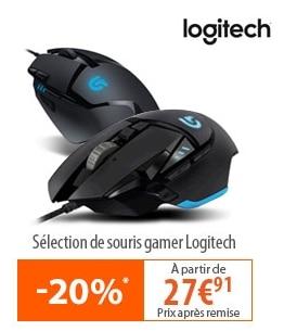 """<span class=""""tagtitre"""">Bon Plan - </span>20% de remise sur des souris Logitech Gamer, 15% sur les soldes"""