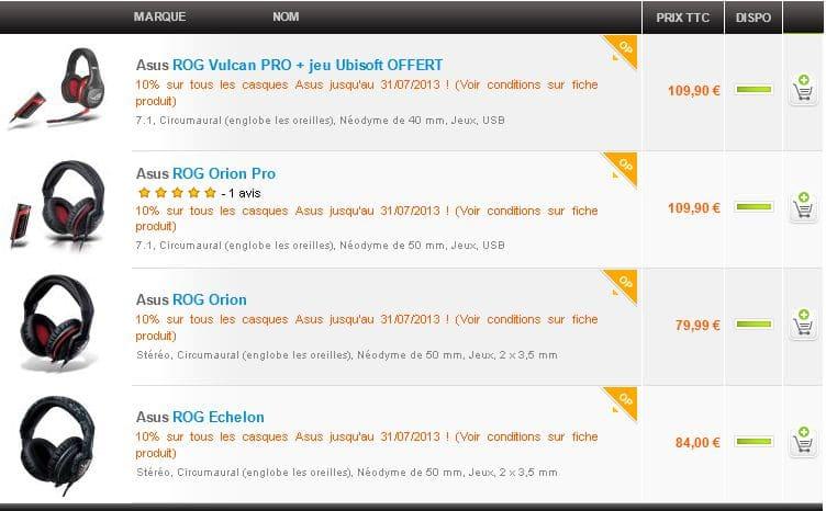 """<span class=""""tagtitre"""">Bon Plan - </span>10% de remise sur les Casque Micro Gamer Asus chez Materiel.net"""