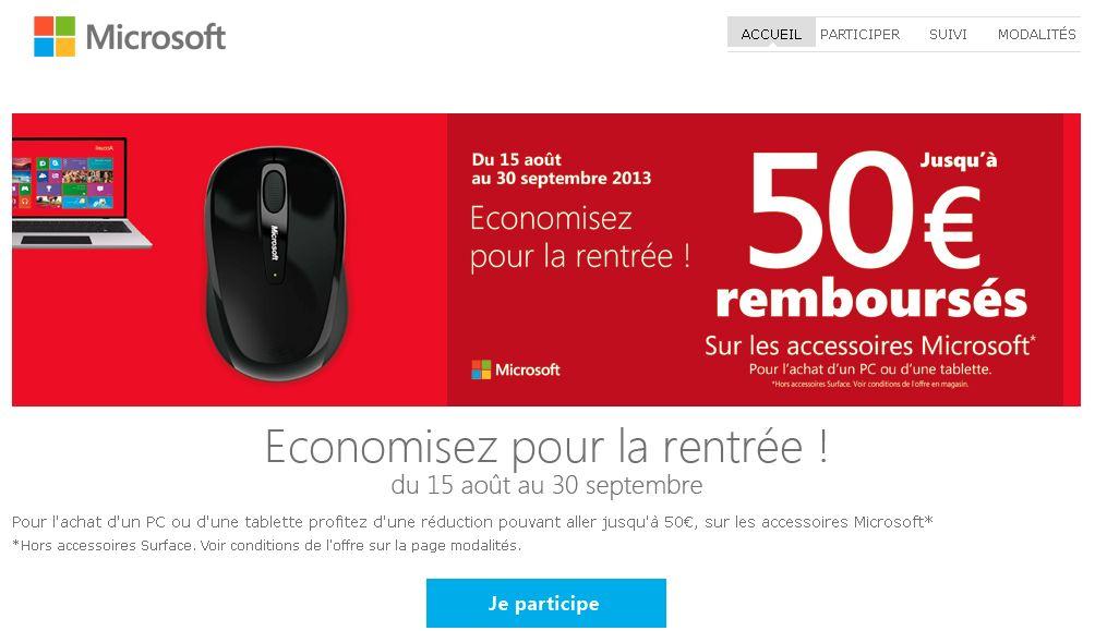 """<span class=""""tagtitre"""">Bon Plan - </span>jusqu'à 50€ remboursés : accessoire(s) Microsoft + PC ou Tablette"""