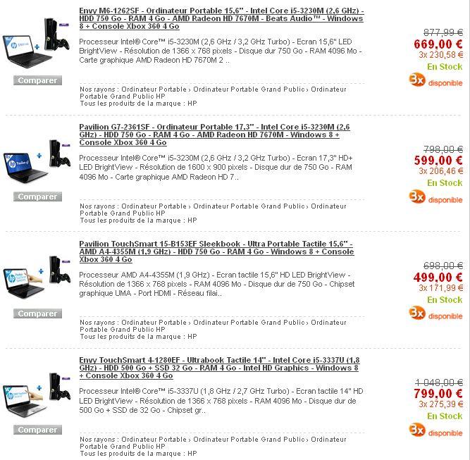 Bon Plan – console Xbox 360 avec PC portables HP chez Rue du Commerce