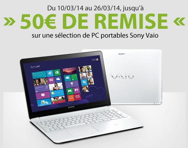 """<span class=""""tagtitre"""">Bon Plan - </span>Materiel.net offre jusqu'à 50 euros de remise sur des PC portables Sony Vaio"""