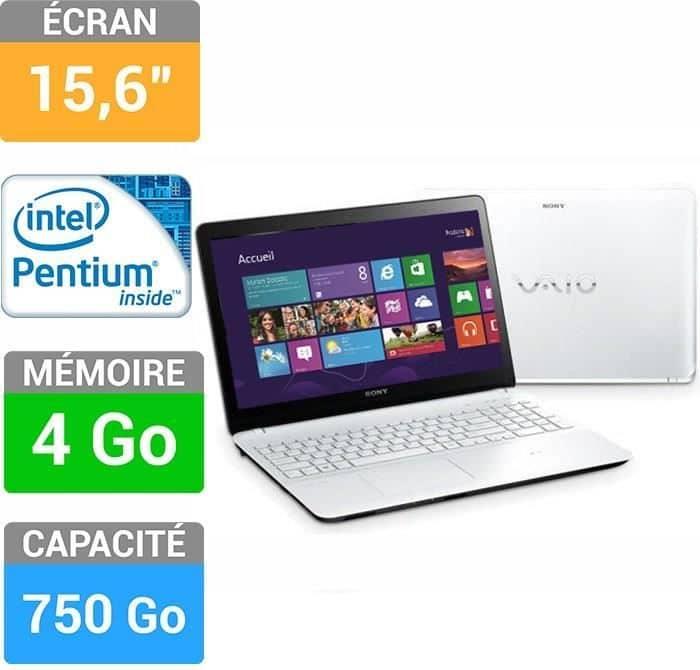 "Sony Vaio SVF1521F6EW à 457€, 15.5"" blanc avec Pentium Dual Core Ivy Bridge, 750 Go"