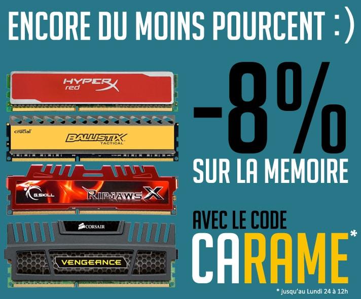 """<span class=""""tagtitre"""">Bon Plan - </span>8% de remise immédiate sur la mémoire vive chez Top Achat"""