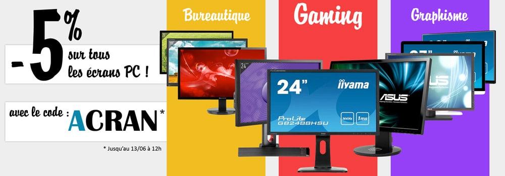 """<span class=""""tagtitre"""">Bon Plan - </span>Top Achat offre 5% de remise immédiate sur les écrans PC"""