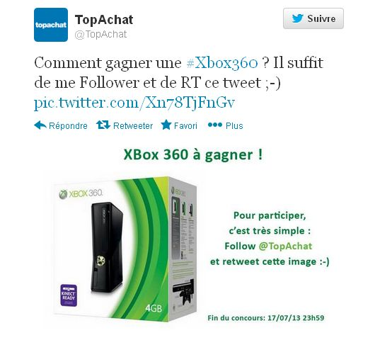 "<span class=""tagtitre"">Bon Plan - </span>Console Microsoft Xbox 360 à gagner avec Top Achat"