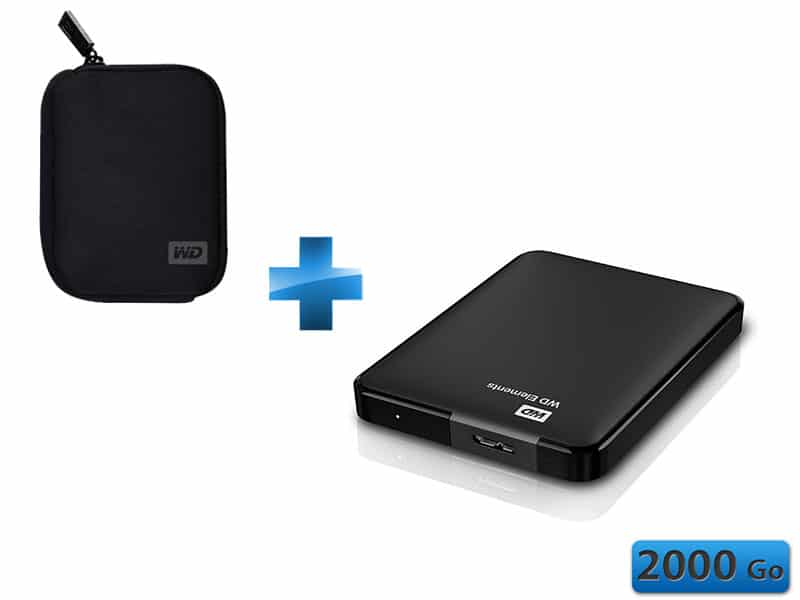 """<span class=""""tagtitre"""">Bon Plan - </span>disque dur externe 2.5"""" Western Digital Elements 2 To USB 3.0 + housse à 149€"""