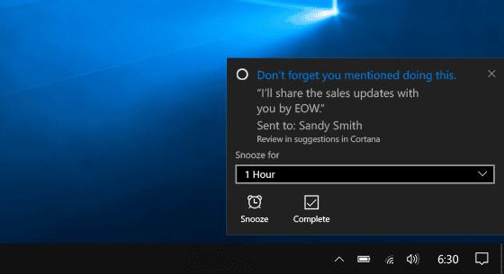"""<span class=""""tagtitre"""">Windows 10 - </span>Cortana vous rappelle vos engagements en épluchant vos e-mails"""