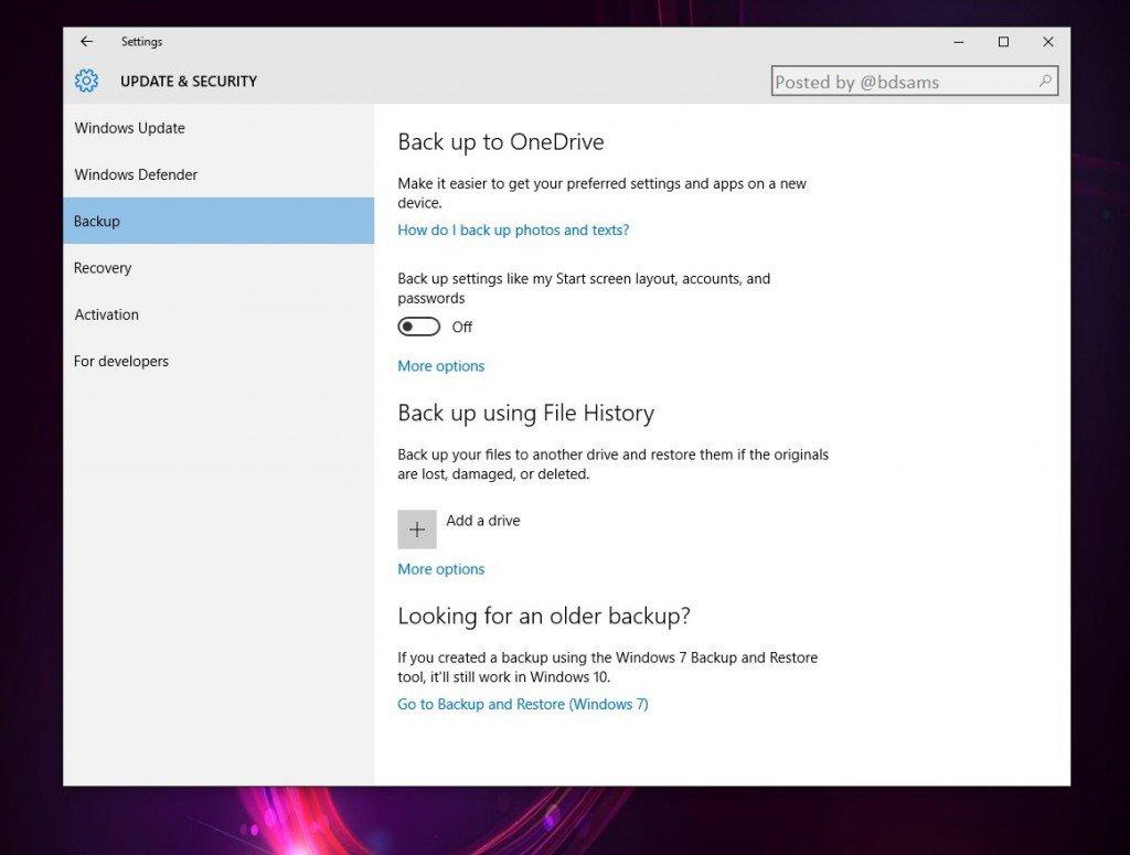"""<span class=""""tagtitre"""">Windows 10 - </span>sauvegarde améliorée prévue pour OneDrive"""