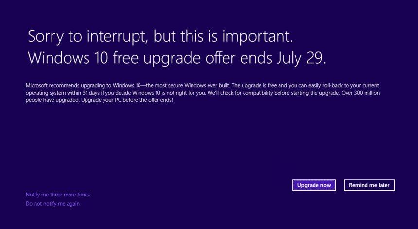"""<span class=""""tagtitre"""">Windows 10 - </span>Microsoft modifie son système de notification pour migrer"""