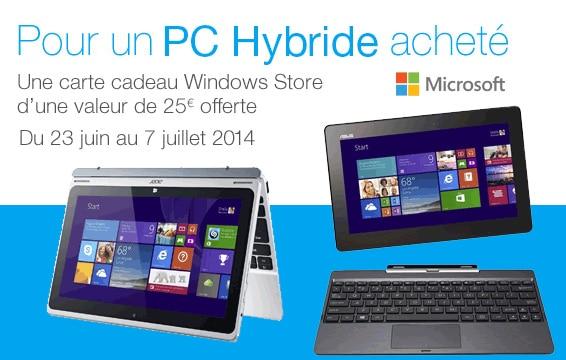 """<span class=""""tagtitre"""">Bon plan - </span>Bon d'achat Windows Store de 25€ offert sur les hybrides Acer Switch et Asus Transformer"""
