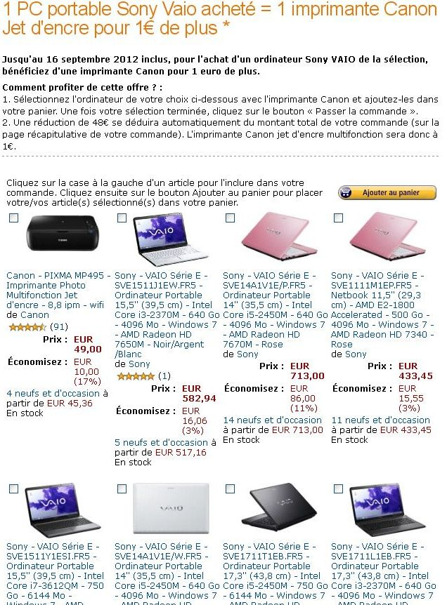 Amazon Sony Vaio Imprimante Canon Pixma MP495