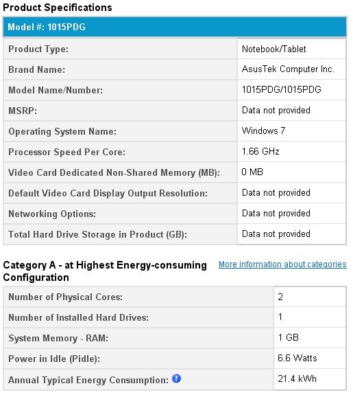 Asus Eee PC 1015PDG