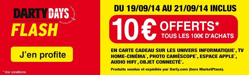 """<span class=""""toptagtitre"""">Bon plan ! </span>10€ en carte cadeau tous les 100€ d'achats chez Darty !"""